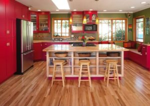 Latest red and green color combination kitchen theme