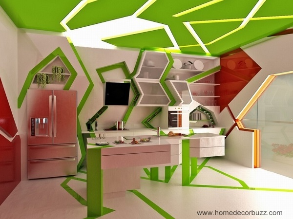 Lovely green-red kitchen interior design