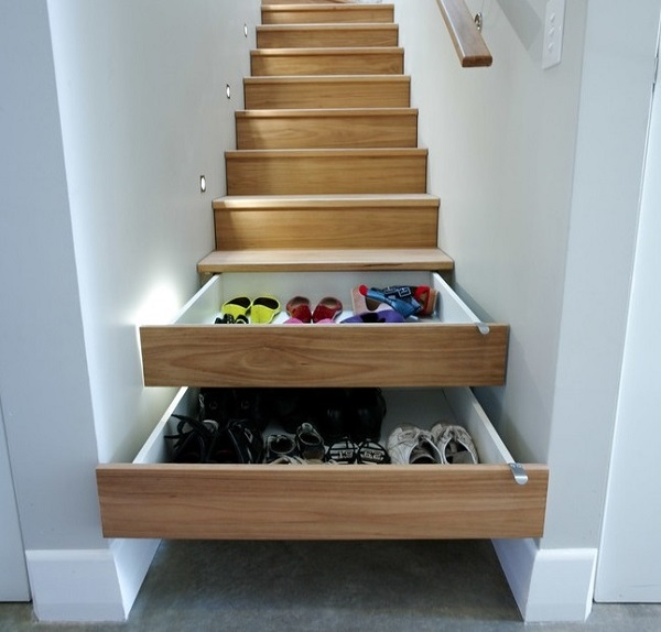 Store shoes in hidden stair drawers