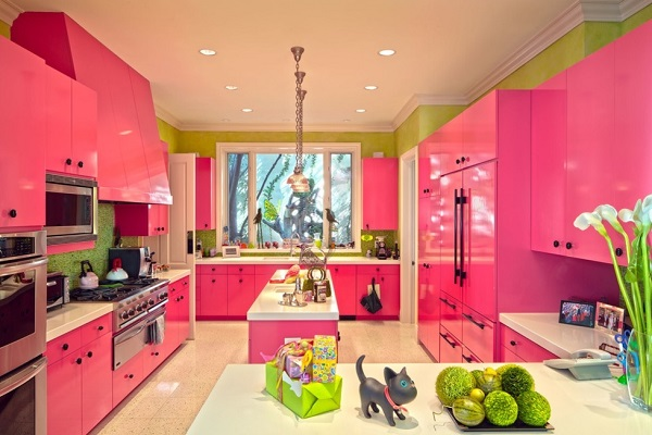 Beautiful pink kitchen design image