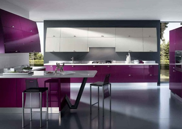 Beautiful purple kitchen interior with grey theme