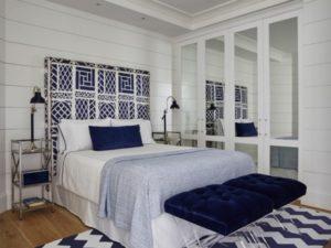 Blue modern bedroom interior decor style