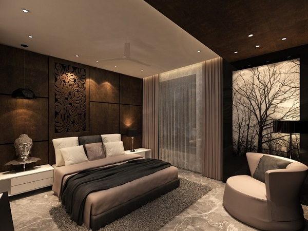 Brown bedroom design decor for modern home interior