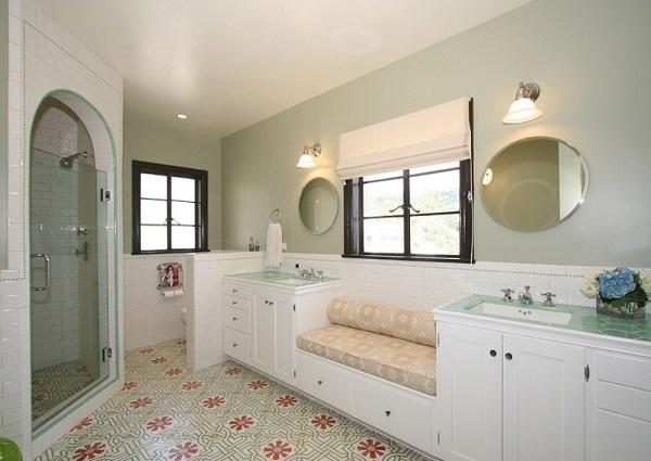 Cement tiles on bathroom floor