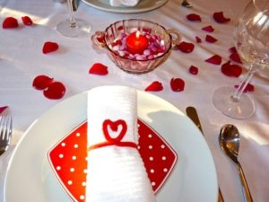Elegant romantic table decoration for valentine day