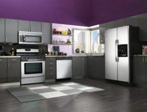 Kitchen decor ideas in purple-grey colour combination
