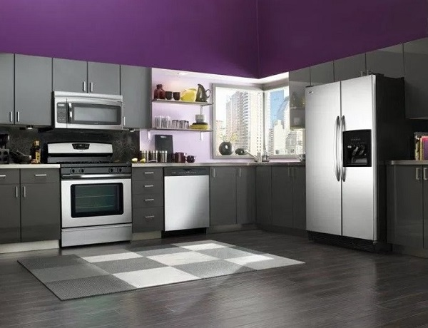 Kitchen decor ideas in purple-grey colour combination