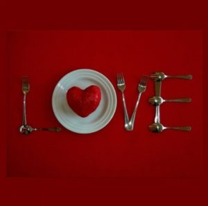 Love on dinner table for romantic valentine's day