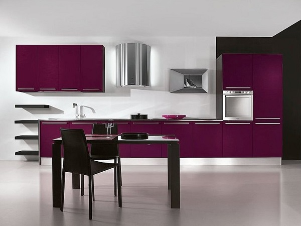 Lovely purple-gray kitchen decor