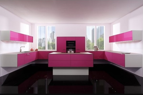 Pink kitchen cabinets with white walls