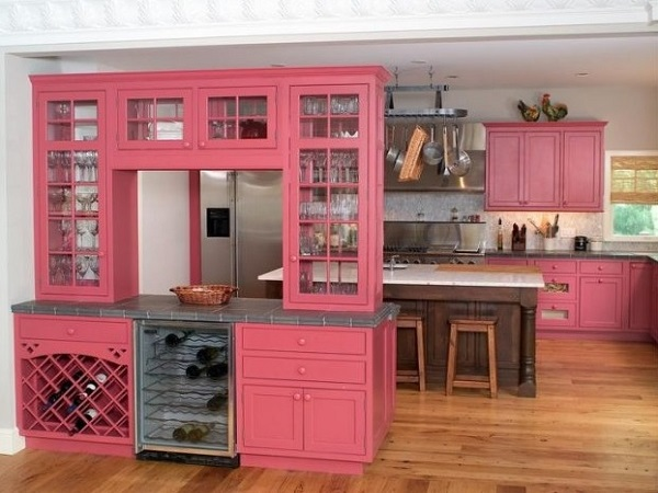 Pink kitchen furniture cabinets
