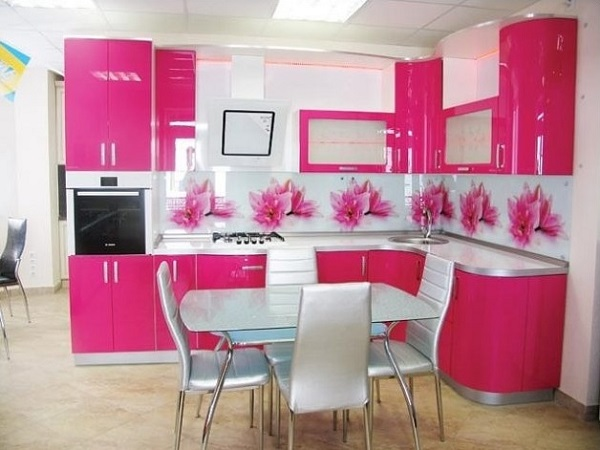 Pink kitchen designs decorating ideas photos for Kitchen decoration pink