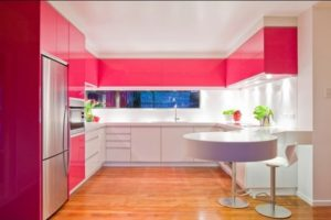 Pink-white kitchen cabinets for home decor