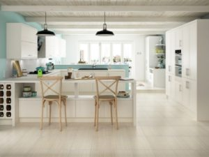Porcelain Tiles installation on kitchen floor