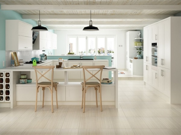 Porcelain Tiles installation on kitchen floor
