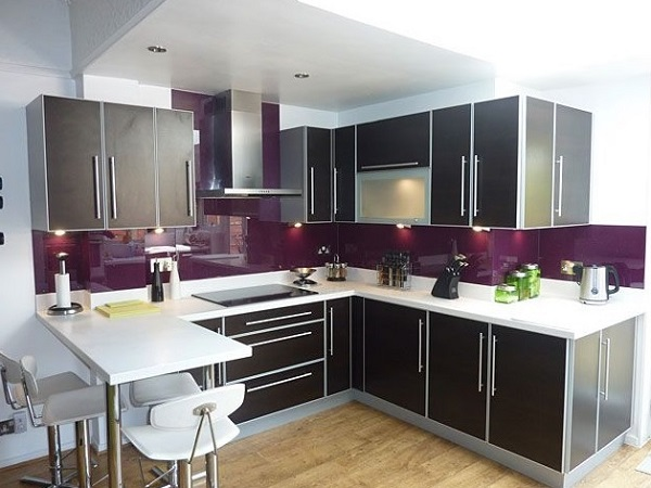 Purple and grey color kitchen interior design