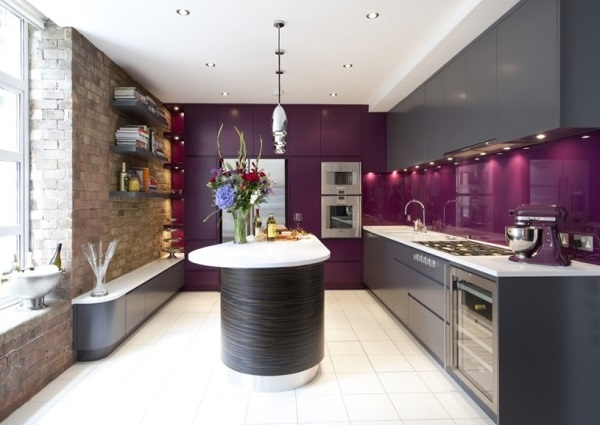 Purple-grey kitchen design decor