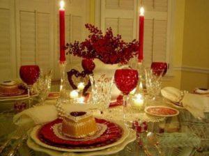 Romantic dinner table for valentine day celebration