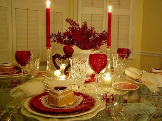 Romantic dinner table for valentine day celebration