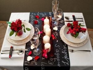 Romantic table decoration for valentine's day