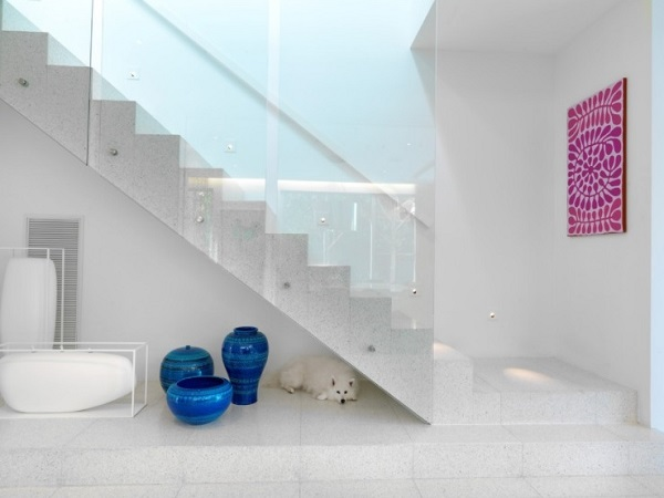 White Terrazzo Tiles install on living area floor