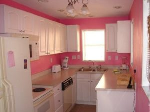 White cabinets for pink color kitchen