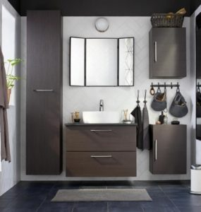 Beautiful bathroom decor with cabinets, countertop, baskets for storage