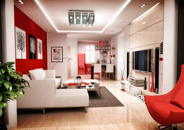 Beautiful Red White Living Room Design