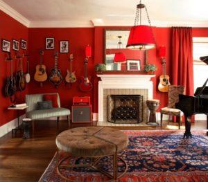 Elegant red bedroom interior design picture