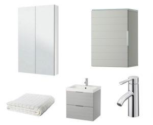 GODMORGON wall cabinet, mirror cabinet, Afjarden bath towel, Dalskar bath faucet with strainer and GORMORGON/ODENSVIK sink cabinet