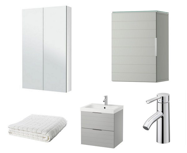 GODMORGON wall cabinet, mirror cabinet, Afjarden bath towel, Dalskar bath faucet with strainer and GORMORGON/ODENSVIK sink cabinet