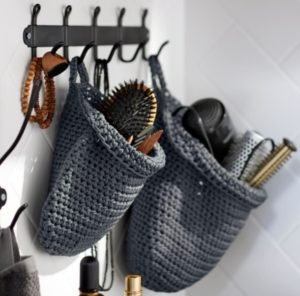 Handmade baskets to keep hair styling tools