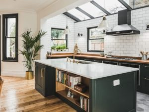 Industrial dark green kitchen design in vintage style