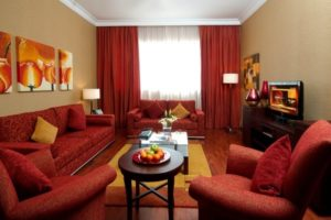 Lavish red living room interior decor