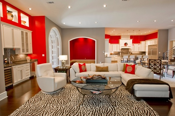 Lovely red living room style