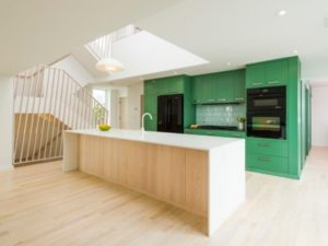 Open green kitchen decor