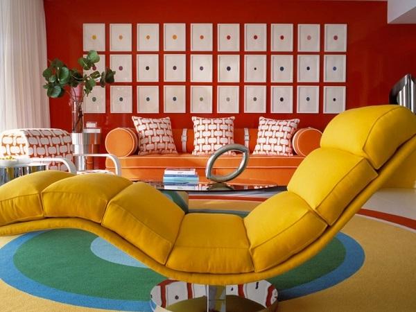 Stylish red living room interior design