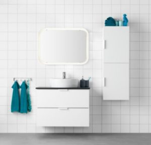 White cabinet with sink and countertop