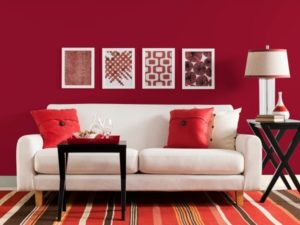 Wonderful red-pink color living room picture