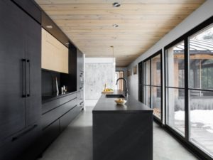 Black kitchen countertop design and cabinets