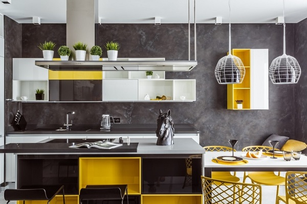 Kitchen With White Cabinets And Yellow Walls