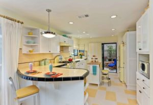Yellow floors in kitchen interior decoration
