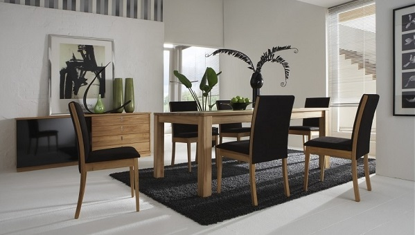 Black Rug with black dining set for living room decor