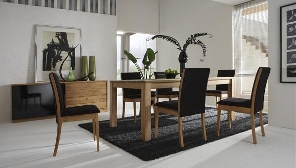 Black Rug with black dining set for living room decor