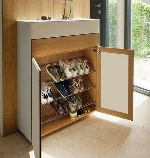 Shoe storage in a cupboard