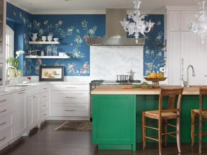 Blue, green kitchen interior design ideas