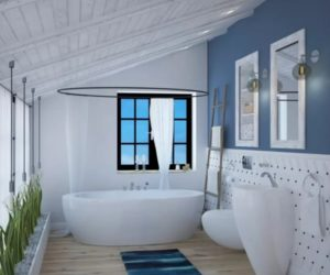 Beautiful blue bathroom design