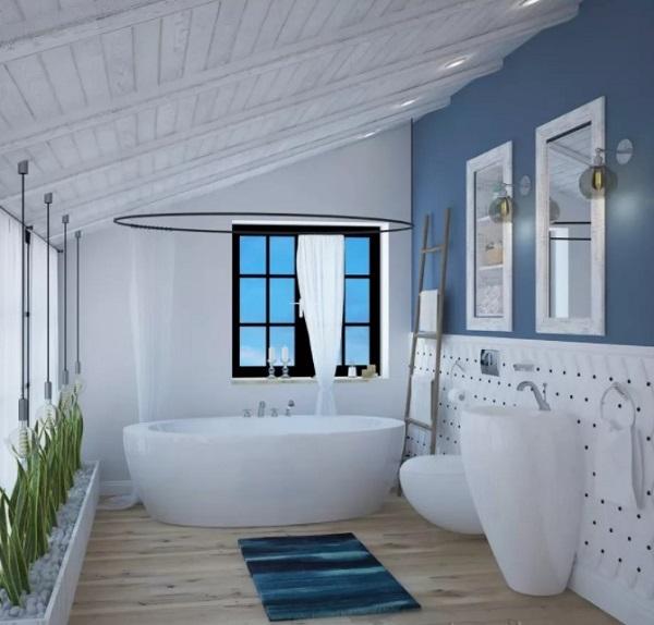 Beautiful blue bathroom design