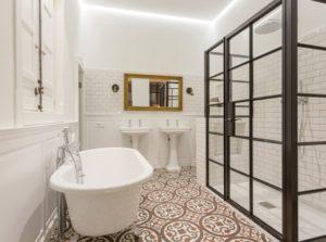 Decorative tiles floor of modern bathroom