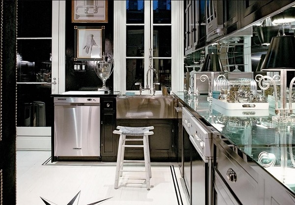 Luxury black white kitchen design photo